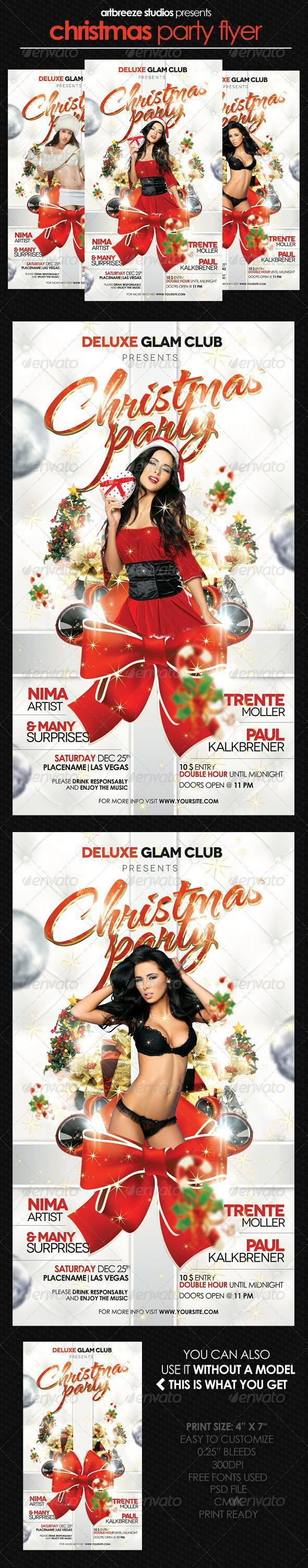 Christmas Party Girls Glam Club Flyer Template