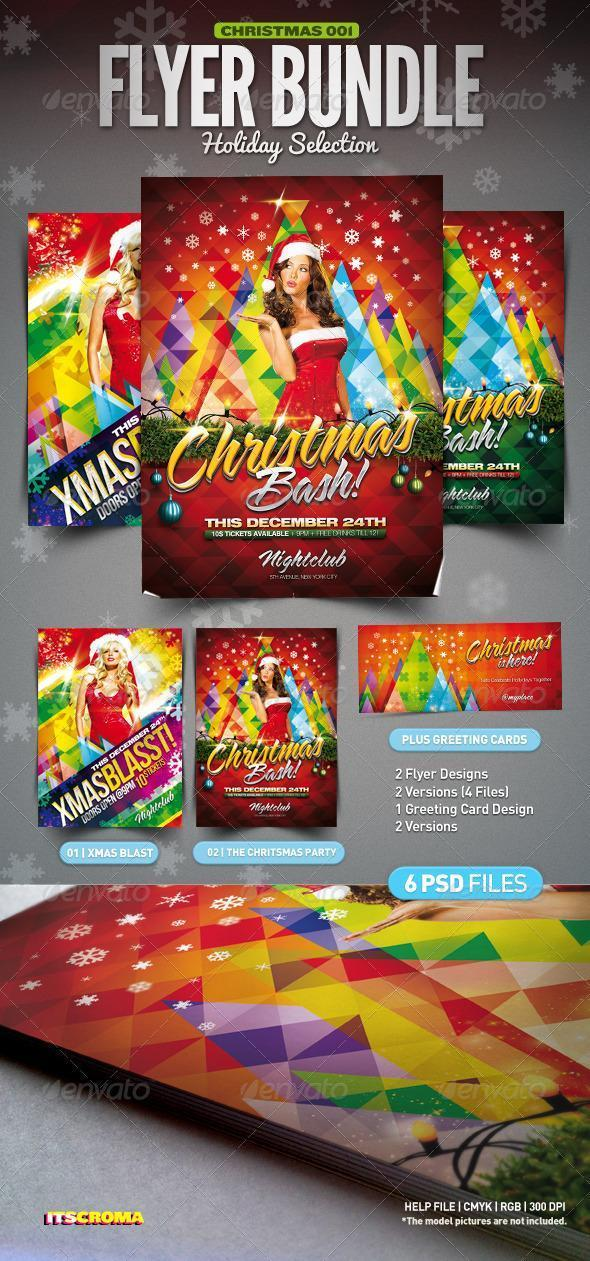 Colorful Christmas Party Flyer Bundle