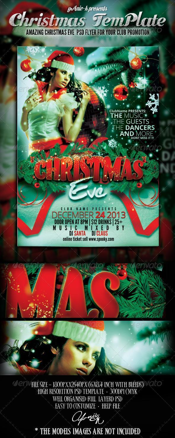 Full Size Cristmas Party Flyer PSD Template