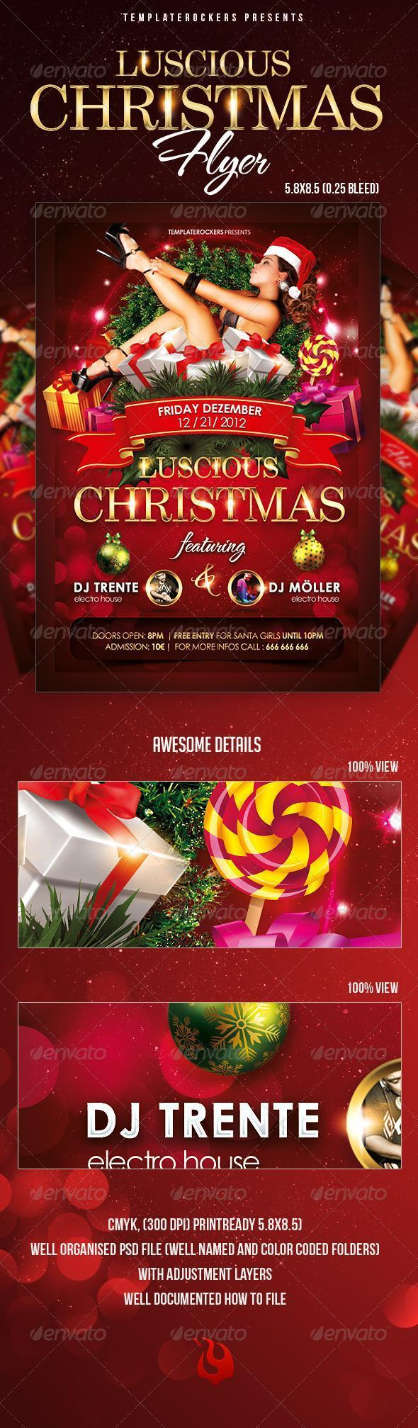 Glamour Girl Party Flyer for Christmas
