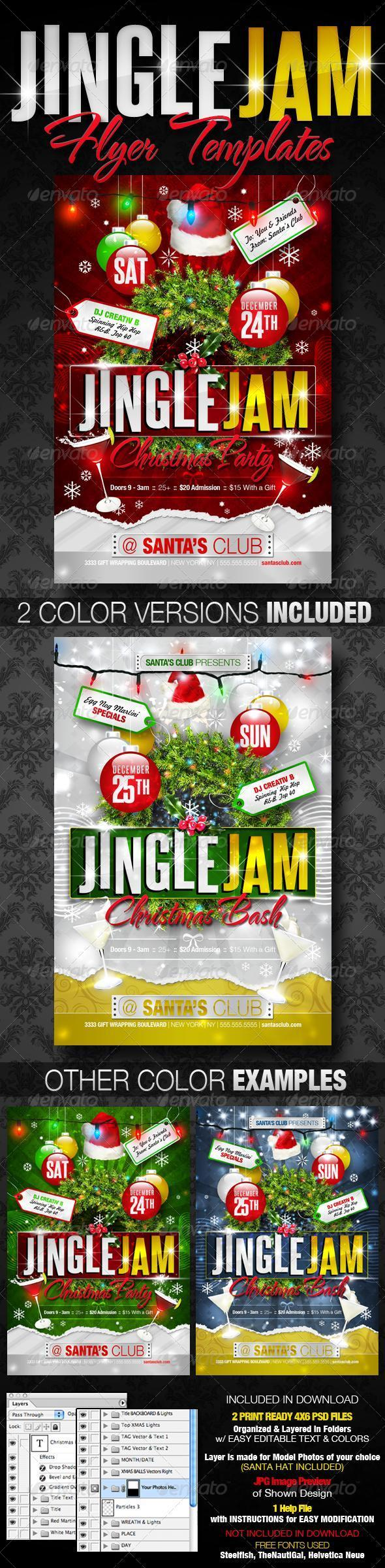 Jingle Jam Christmas Party Flyer Template