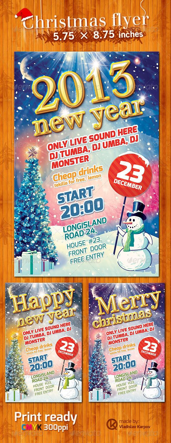 Christmas and New Year Snowman Party Flyer