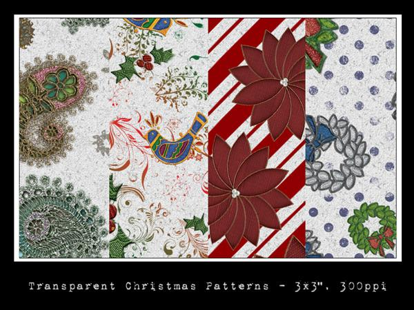 Transparent Christmas Patterns by slavetofashion69 photoshop resource collected by psd-dude.com from deviantart