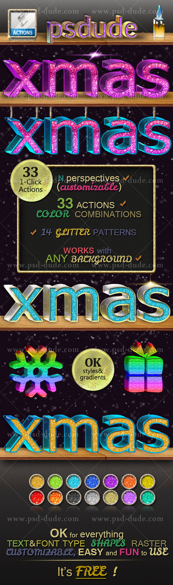 3D Glitter Photoshop Style Action Generator | PSDDude