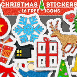 Free Christmas Glitter Sticker Icons psd-dude.com Resources