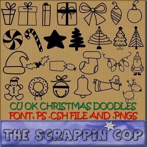 Christmas Doodle Photoshop Shapes CSH