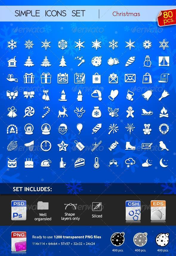 Christmas Icons and Vector Shapes