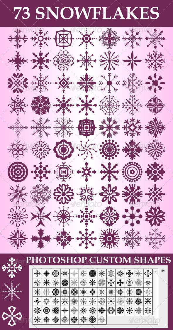 Snowflake Custom Shapes Photoshop Collection