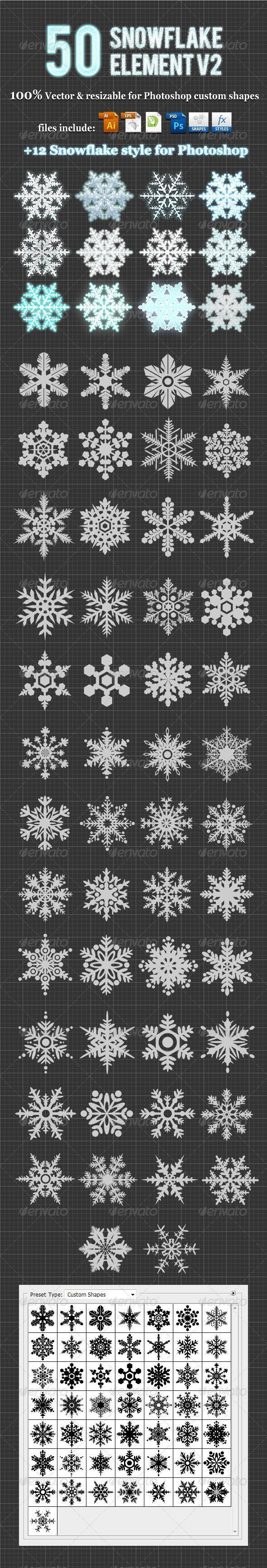 Snowflake Photoshop Custom Shapes