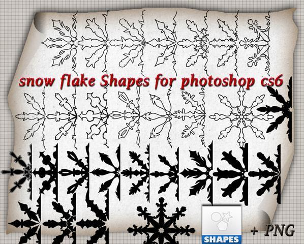 Snowflake Shapes Photoshop CSH File