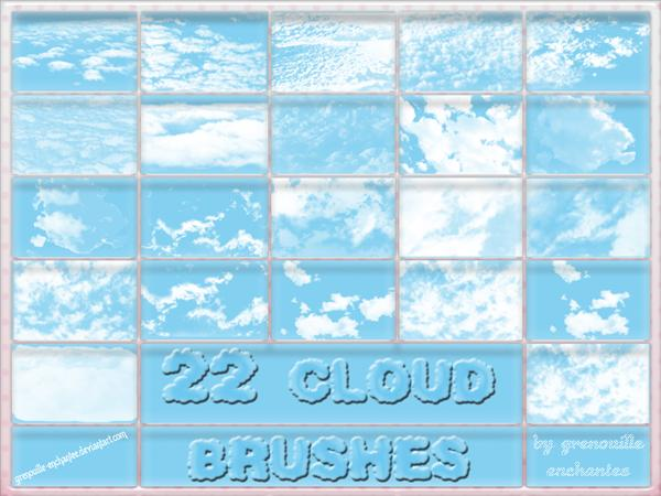 22 Cloud Brushes by grenouille-enchantee photoshop resource collected by psd-dude.com from deviantart