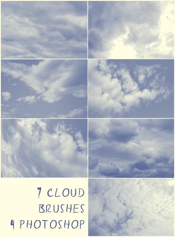 7 Cloud Brushes by Resaturatez photoshop resource collected by psd-dude.com from deviantart