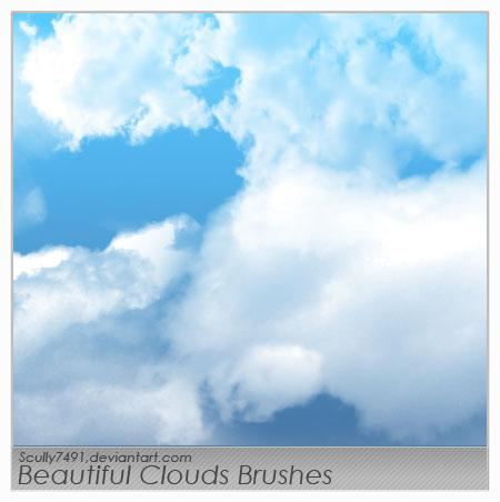 Beautiful Clouds Brushes by Scully7491 photoshop resource collected by psd-dude.com from deviantart