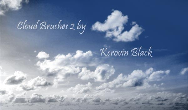 Cloud Brushes 2 by KerovinBlack photoshop resource collected by psd-dude.com from deviantart