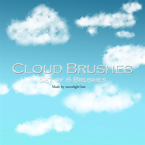 Cloud Brushes by moonlight-lust photoshop resource collected by psd-dude.com from deviantart
