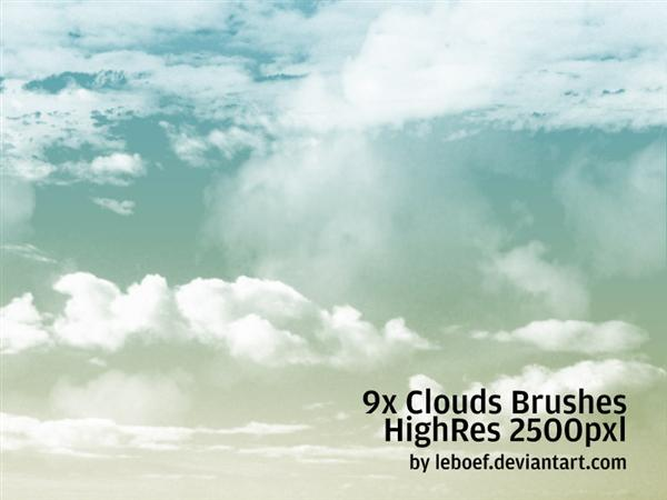 Cloud Brushes HiRes Nr2 of 5 by leboef photoshop resource collected by psd-dude.com from deviantart