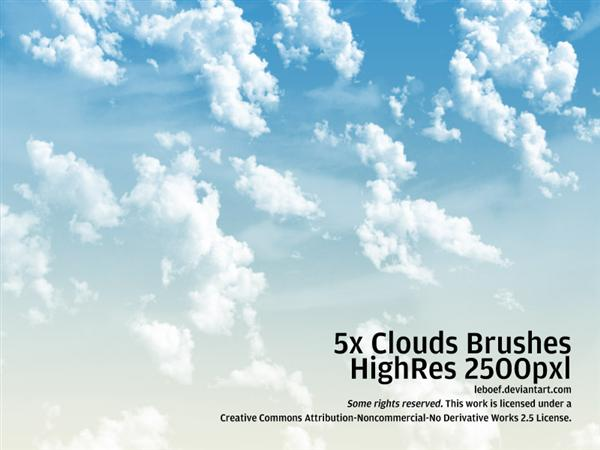 Cloud Brushes HiRes Nr3 of 5 by leboef photoshop resource collected by psd-dude.com from deviantart