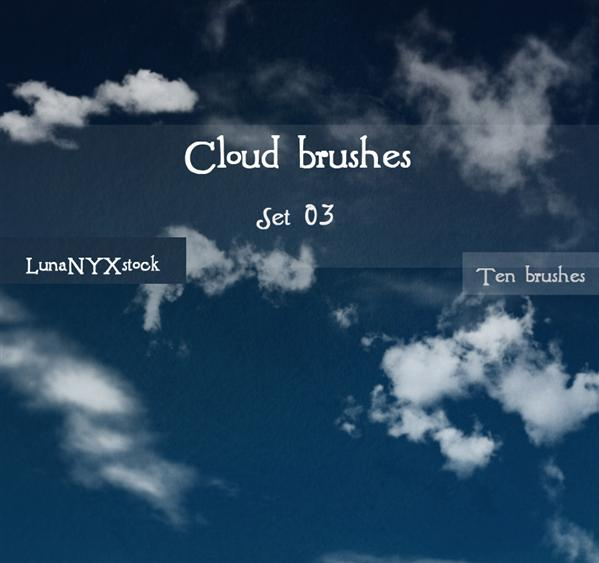 Cloud brushes set 03 by LunaNYXstock photoshop resource collected by psd-dude.com from deviantart