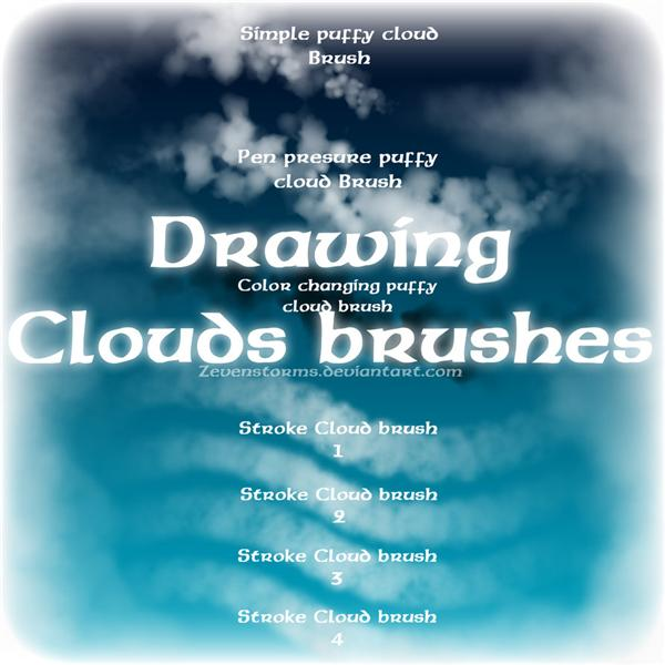 Drawing clouds Brush by zevenstorms photoshop resource collected by psd-dude.com from deviantart