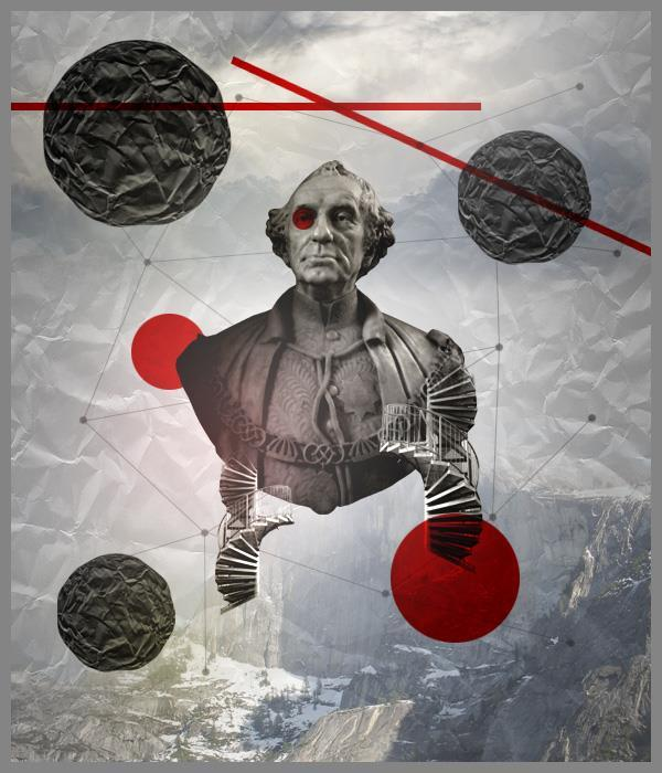 Create an abstract collage fusing ancient and modern in Photoshop