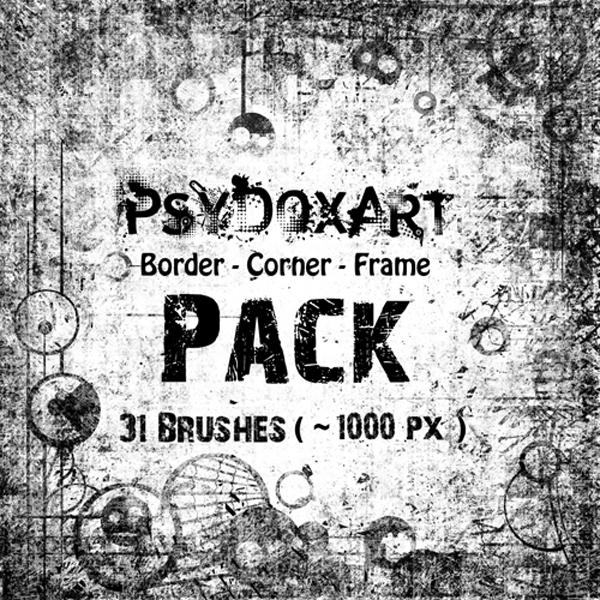 BorderCornerFramePACK by PsyDoxArt photoshop resource collected by psd-dude.com from deviantart