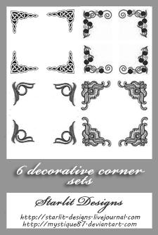 Deco Corners Set 2 by mystique87 photoshop resource collected by psd-dude.com from deviantart