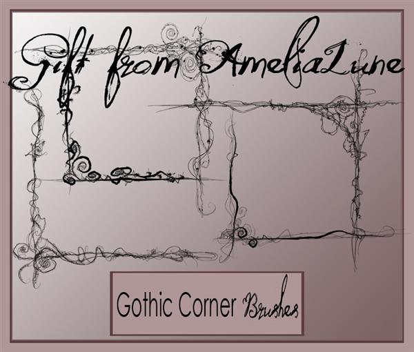 Gothic PS corner brushes by AmeliaLune photoshop resource collected by psd-dude.com from deviantart