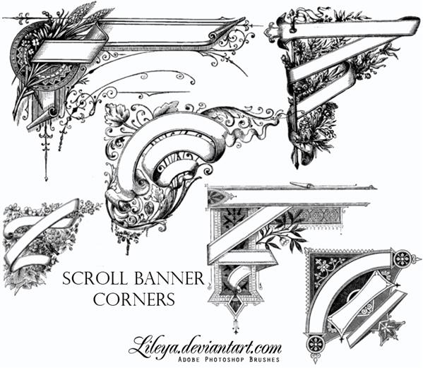 Scroll Banner Corners by Lileya photoshop resource collected by psd-dude.com from deviantart