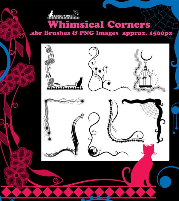 Whimsical Corner Brushes PNG by Cybrea-Stock photoshop resource collected by psd-dude.com from deviantart