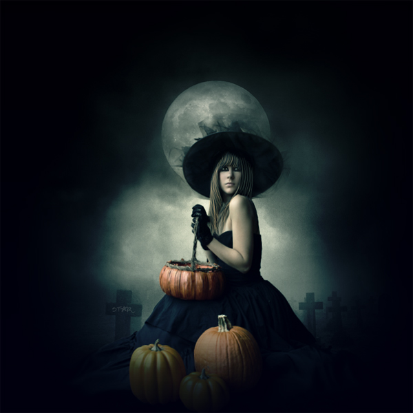 Pumpkin Witch by stardoms photoshop resource collected by psd-dude.com from deviantart