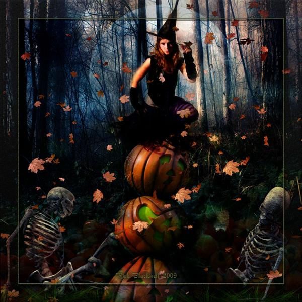 Witch in the Pumpkin Patch by Rickbw1 photoshop resource collected by psd-dude.com from deviantart