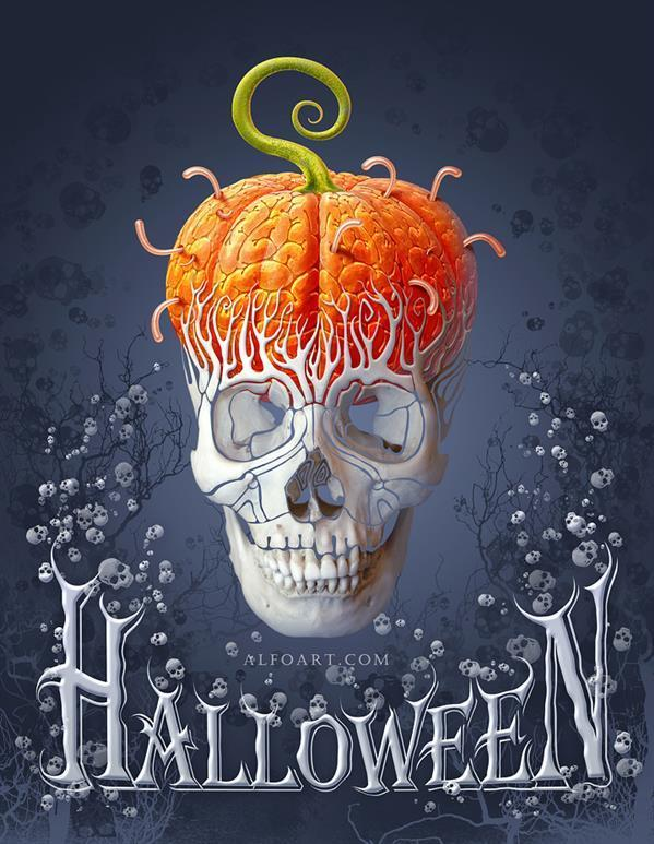 Create a Pumpkin Skull Halloween Card in Photoshop