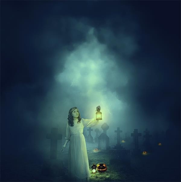 Halloween Night Cemetery Ghost Photo Manipulation Tutorial
