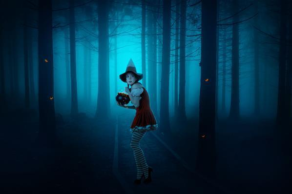 Young Witch in the Forest Dark Photoshop Manipulation Tutorial