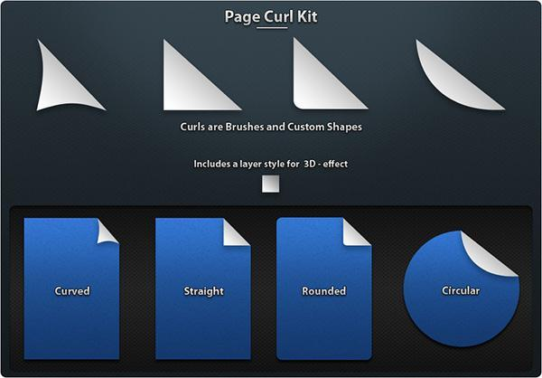 Page Curl Corners Photoshop Brushes
