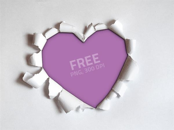 Torn paper heart PNG (FREE)