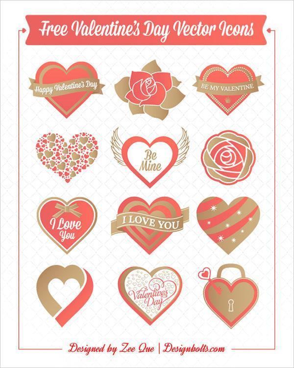 Valentines day hearts rose vector icons (FREE)