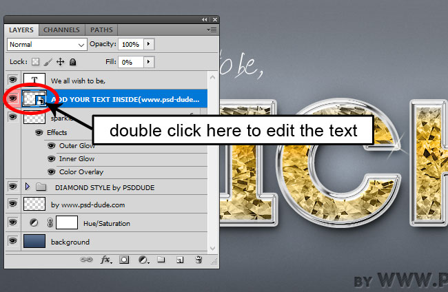 Replace Text In Diamond Text Effect PSD Smart Object