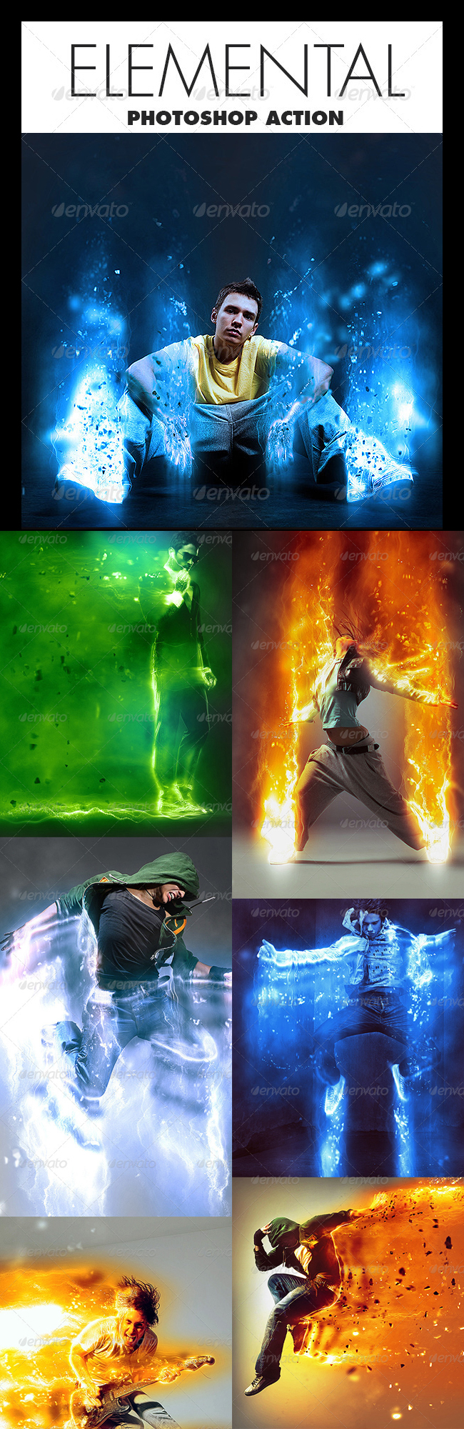 Elemental Abstract Lights and Particles Photoshop Action