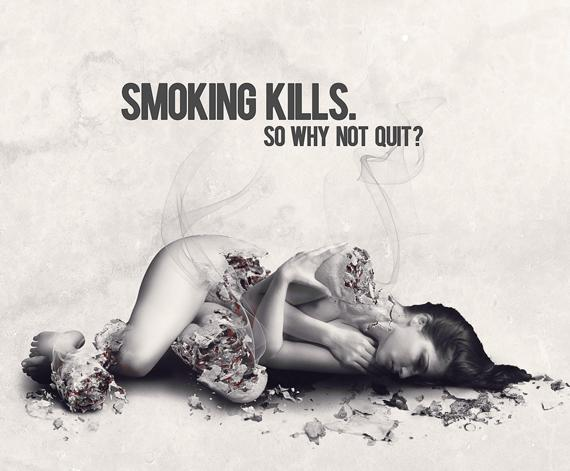 Create antismoking ad concept with disintegration effect in Photoshop