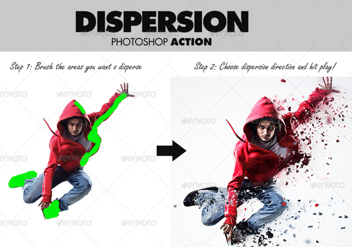 Dispersion and Disintegration Effect Photoshop Action