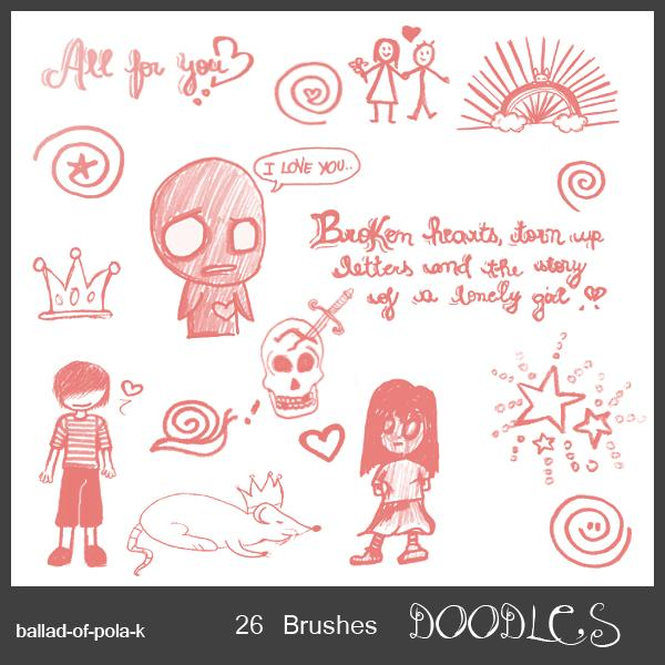 Doodles by ballad-of-pola-k photoshop resource collected by psd-dude.com from deviantart
