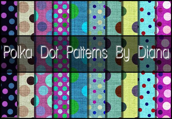 Fun Polka Dot Patterns by DianasCreations photoshop resource collected by psd-dude.com from deviantart