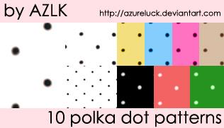 Polka Dot Patterns by Azureluck photoshop resource collected by psd-dude.com from deviantart