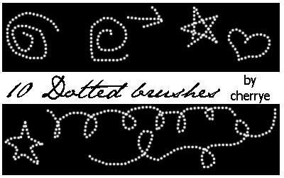 10 Dotted Brushes by cherrye photoshop resource collected by psd-dude.com from deviantart