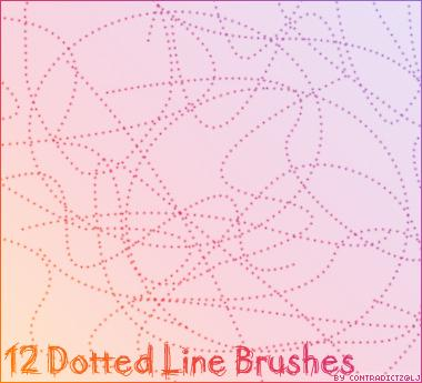 12 Dotted Line Brushes by contradictz photoshop resource collected by psd-dude.com from deviantart