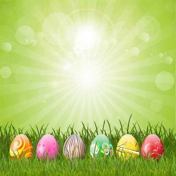 Easter Eggs with Grass Background Free