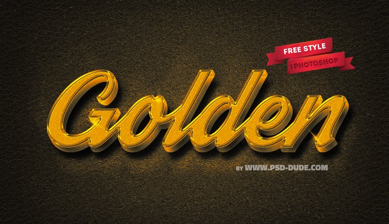 3D Elegant Gold Photoshop Free Style