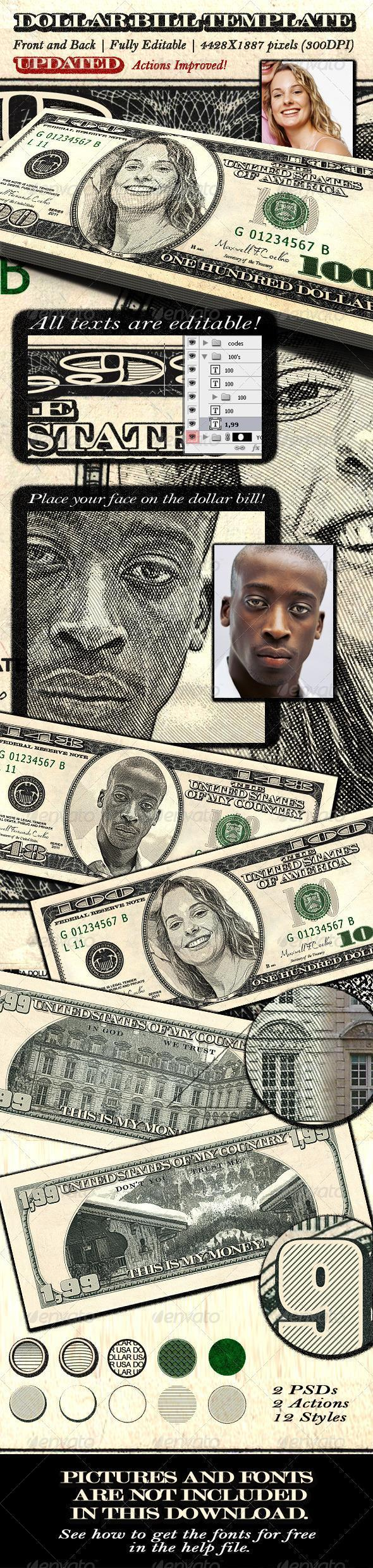 Dollar Bill Money Engraved Style Photoshop Action