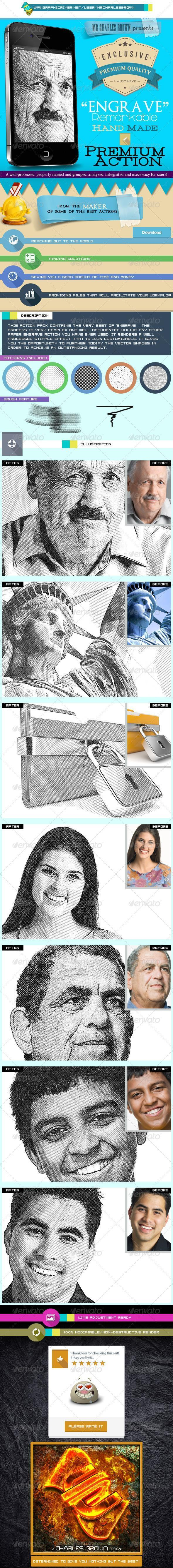 Hand Made Engrave Photoshop Actions